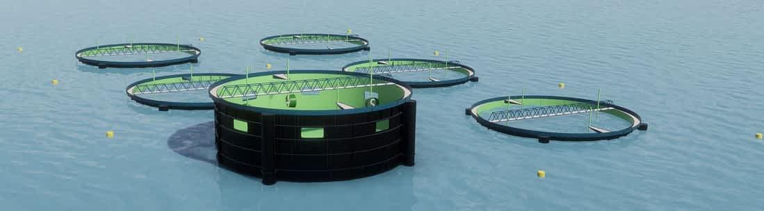 Aquajet semi closed fish farms preventing against sea lice
